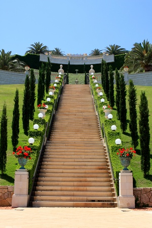 shrine: Haifa, Israel - 12 May, 2012: View of Bahai gardens on mount Carme