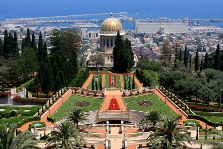 shrine: Haifa, Israel - 12 May, 2012: View of Bahai gardens and the Shrine of the Bab on mount Carmel