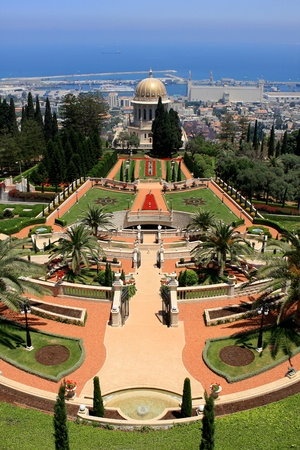 Haifa, Israel - 12 May, 2012: View of Bahai gardens and the Shrine of the Bab on mount Carmel Stock Photo - 14756772