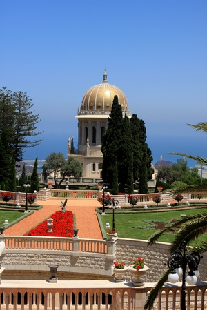 Haifa, Israel - 12 May, 2012: View of Bahai gardens and the Shrine of the Bab on mount Carmel Stock Photo - 14756750