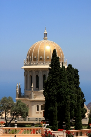 bab: Haifa, Israel - 12 May, 2012: View of Bahai gardens and the Shrine of the Bab on mount Carmel