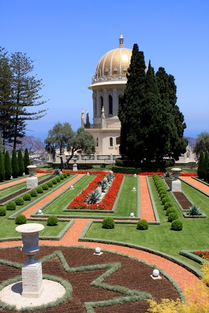 Haifa, Israel - 12 May, 2012: View of Bahai gardens and the Shrine of the Bab on mount Carmel