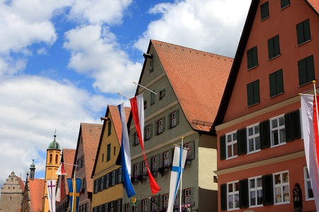Germany - July 2012: Architecture of historic city Dinkelsbuhl in Bavaria, Germany