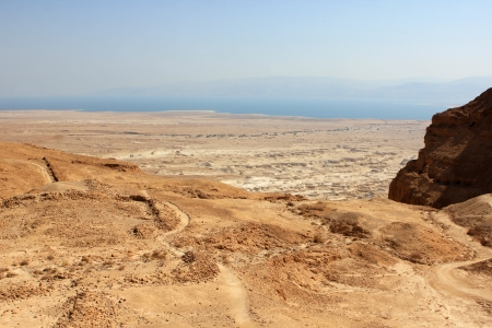 judaean desert: View from Masada fortress to the Judaean desert and the Dead Sea on the background, Israel Stock Photo