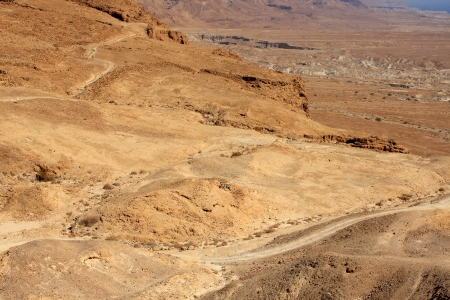 View from Masada fortress to the Judaean desert, Israel Stock Photo - 15844489