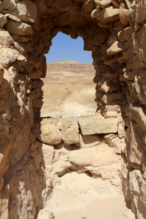 Ruins of ancient Masada fortress in Israel