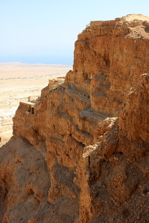 judaean: The Masada fortress and the dead sea at the background, Israel