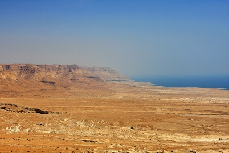 judaean: View from Masada fortress to the Judaean desert and the Dead Sea on the background, Israel Stock Photo