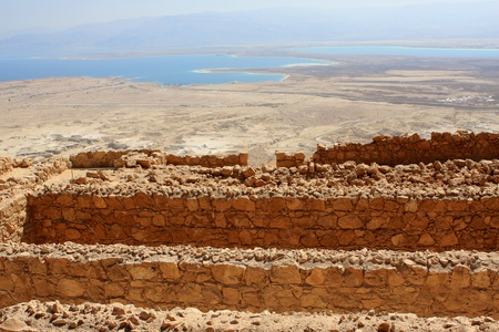 Ruins of ancient Masada fortress and the Dead Sea on the background, Israel Stock Photo - 15855262