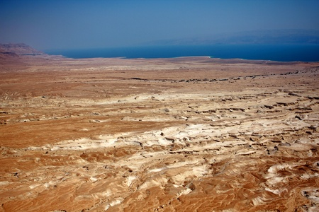 View from Masada fortress to the Judaean desert and the Dead Sea on the background, Israel photo