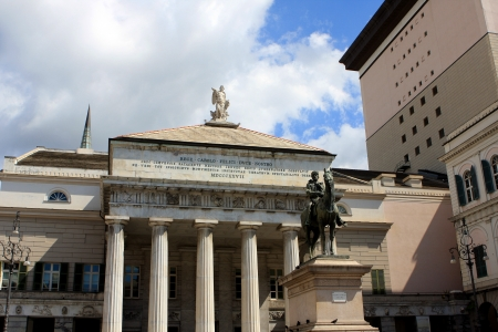 felice: Monument to Giuseppe Garibaldi and Theater Carlo Felice on Piazza de Ferrari, Genoa, Italy