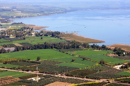 View of the sea of Galilee  Kineret lake  from Arbel mountain, Israel