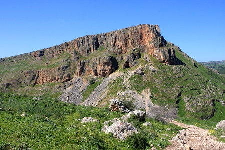 Mount Nitai, view from mount Arbel in The Lower Galilee, Israel Stock Photo