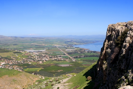 View of Israel from Arbel mount in the Lower Galilee Stock Photo