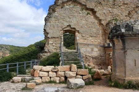Ruins of Monfort , crusader castle in western Galilee, Israel Stock Photo
