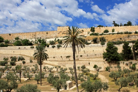 View of Golden gates in Jerusalem s Old City Walls, garden and ancient cemetery, Israel photo
