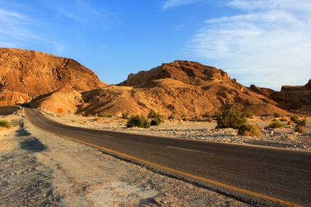 Empty road in the Negev desert, Israel