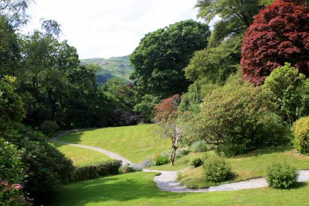 Gardens at the Rydal Mount, the home of the poet William Wordsworth, England