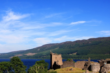 View of Urquhart Castle and Loch Ness in the Highlands of Scotland Stock Photo