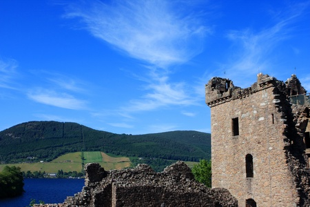 ness: View of Urquhart Castle and Loch Ness in the Highlands of Scotland Stock Photo
