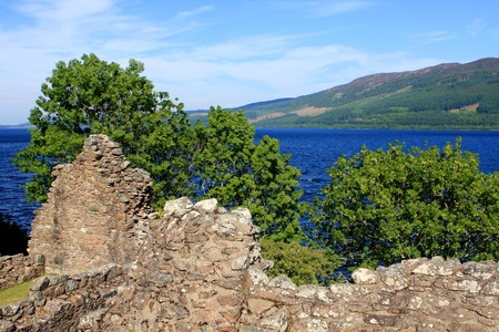 View of Urquhart Castle and Loch Ness in the Highlands of Scotland photo