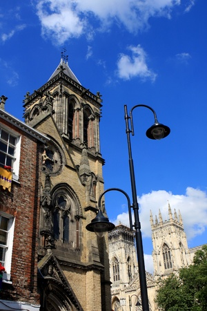 Details of St  Wilfrid s church and York minster, England photo