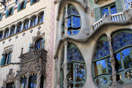 famous building: Casa Batllo, famous building in the center of Barcelona, designed by Antoni Gaudi, Spain Editorial