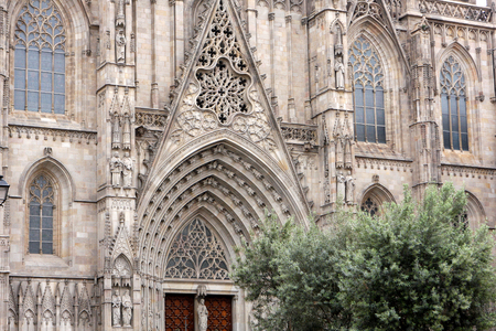 Cathedral of the Holy Cross and Saint Eulalia at Gothic Quarter in Barcelona, Spain Stock Photo