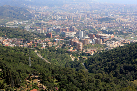 tibidabo: View of Barcelona from Tibidabo mountain, Catalonia, Spain Stock Photo