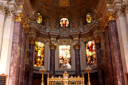 Interior of Berlin Cathedral (Berliner Dom) on Museum Island, Germany Editorial
