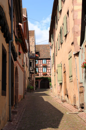 historical architecture: Typical historical architecture of Riquewihr, Alsace, France