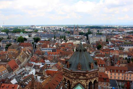 View of Strasbourg from Strasbourg Cathedral, Alsace, France
