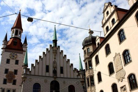 rathaus: The tower of the old town hall altes Rathaus in Munich Germany