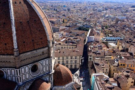 Cathedral of Santa Maria del Fiore, the main church in Florence and view of the Florence,  Italy