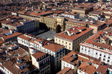 View of Florence from Cathedral at sunny day, Italy