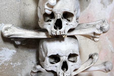 catholic chapel: Human sculls bones in Sedlec Ossuary Kostnice v Sedlci, Roman Catholic chapel  in Kutn Hora, Czech Republic