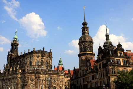 Dresden Cathedral, or the Cathedral of the Holy Trinity, Catholic Church of the Royal Court of Saxony and clock tower Germany