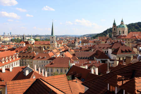 praha: View of red roofs of Prague, Czech republic