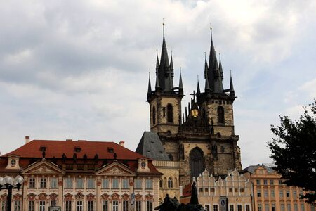 tyn: Church of Our Lady before Tyn (The Church of Mother of God before Tyn) and Prague architecture, Czech Republic Stock Photo