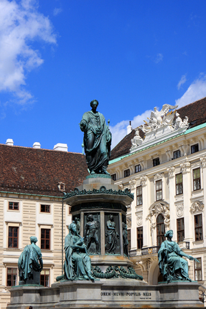 Monument at Hofburg palace courtyard, a former imperial palace in the center of Vienna, Austria Editorial