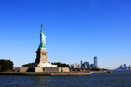 The Statue of Liberty on Liberty Island in New York Harbor in New York City, United States