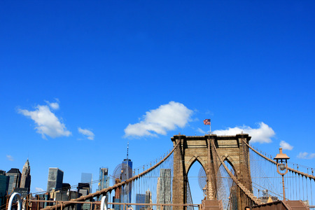 The Brooklyn Bridge over East River in New York City, USA