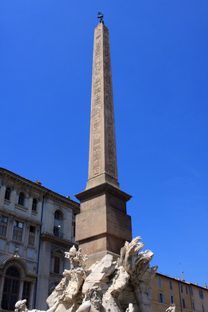 Detail of the Fountain of the four Rivers  with Egyptian obelisk in Piazza Navona, Rome, Italy Standard-Bild