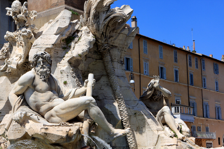 Detail of the Fountain of the four Rivers in Piazza Navona, Rome, Italy