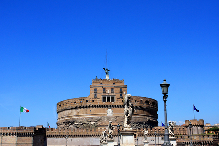 Medieval Castel Sant`Angelo Mausoleum of Hadrian in  Parco Adriano, Rome, Italy.