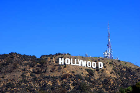 The Hollywood Sign on Mount Lee, los Angeles, USA Editorial