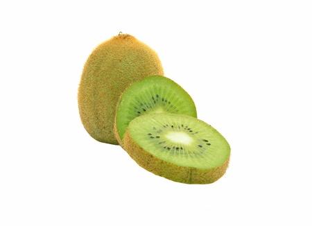 kiwifruit: Three kiwifruit on white background