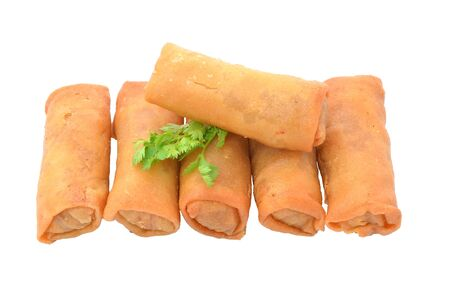 Spring Roll also known as Egg Roll isolated on white. photo