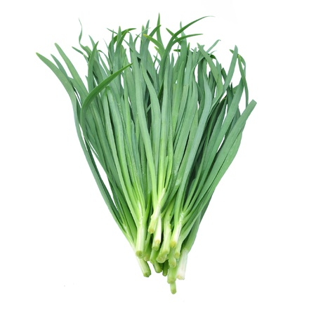 Leek on white background Stock Photo