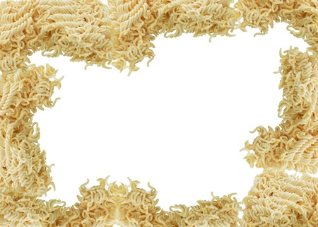 instant ramen: asian ramen instant noodles isolated on white backgrou Stock Photo